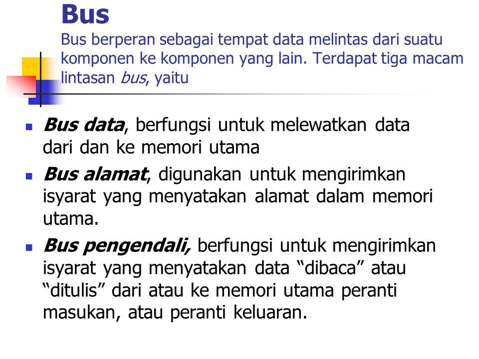 Karakteristik Bus  Lebar bus, jumlah bit yang dapat dilintaskan dalam sekali waktu.