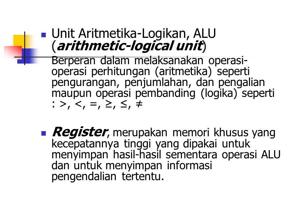  Unit Aritmetika-Logikan, ALU (arithmetic-logical unit) Berperan dalam melaksanakan operasi- operasi perhitungan (aritmetika) seperti pengurangan, penjumlahan, dan pengalian maupun operasi pembanding (logika) seperti : >, <, =, ≥, ≤, ≠  Register, merupakan memori khusus yang kecepatannya tinggi yang dipakai untuk menyimpan hasil-hasil sementara operasi ALU dan untuk menyimpan informasi pengendalian tertentu.