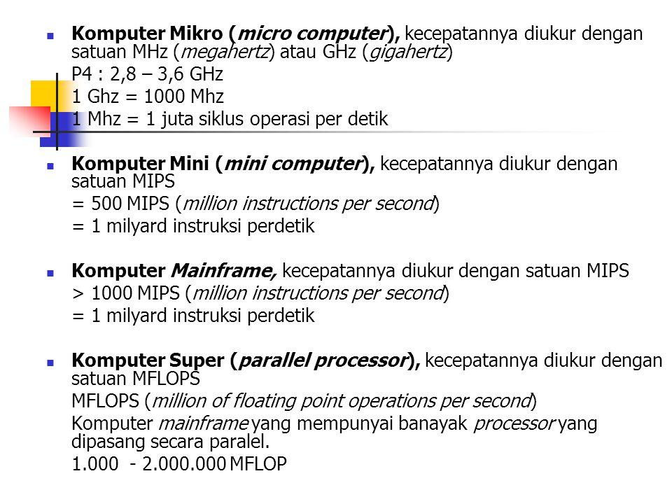  Komputer Mikro (micro computer), kecepatannya diukur dengan satuan MHz (megahertz) atau GHz (gigahertz) P4 : 2,8 – 3,6 GHz 1 Ghz = 1000 Mhz 1 Mhz = 1 juta siklus operasi per detik  Komputer Mini (mini computer), kecepatannya diukur dengan satuan MIPS = 500 MIPS (million instructions per second) = 1 milyard instruksi perdetik  Komputer Mainframe, kecepatannya diukur dengan satuan MIPS > 1000 MIPS (million instructions per second) = 1 milyard instruksi perdetik  Komputer Super (parallel processor), kecepatannya diukur dengan satuan MFLOPS MFLOPS (million of floating point operations per second) Komputer mainframe yang mempunyai banayak processor yang dipasang secara paralel.