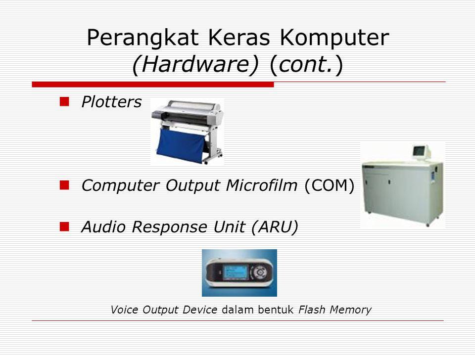 Perangkat Keras Komputer (Hardware) (cont.)  Plotters  Computer Output Microfilm (COM)  Audio Response Unit (ARU) Voice Output Device dalam bentuk