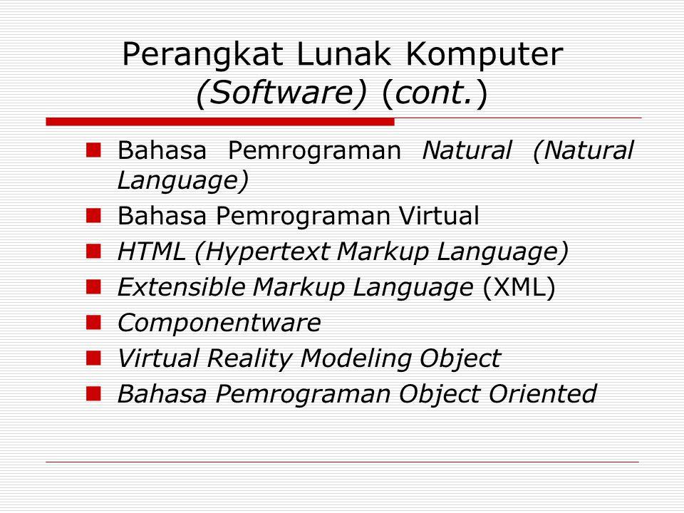 Perangkat Lunak Komputer (Software) (cont.)  Bahasa Pemrograman Natural (Natural Language)  Bahasa Pemrograman Virtual  HTML (Hypertext Markup Lang