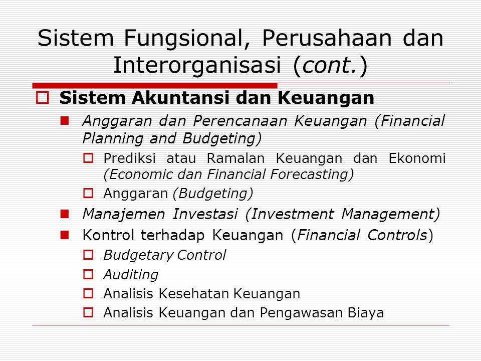 Sistem Fungsional, Perusahaan dan Interorganisasi (cont.)  Sistem Akuntansi dan Keuangan  Anggaran dan Perencanaan Keuangan (Financial Planning and