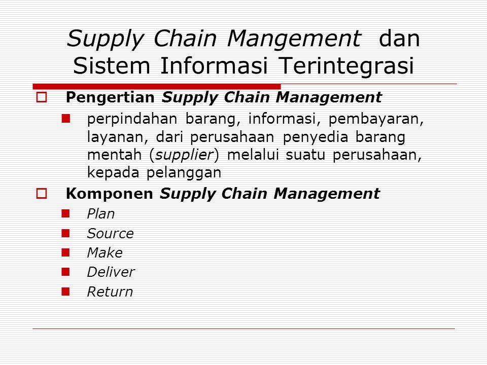 Supply Chain Mangement dan Sistem Informasi Terintegrasi  Pengertian Supply Chain Management  perpindahan barang, informasi, pembayaran, layanan, da
