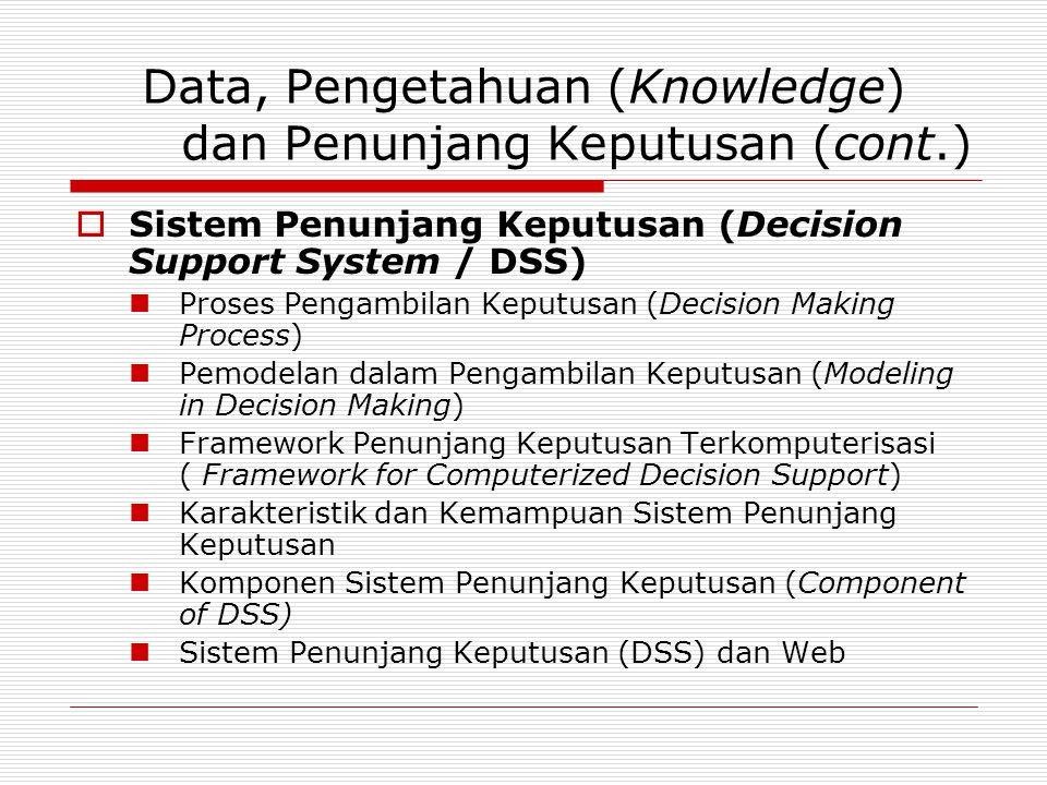 Data, Pengetahuan (Knowledge) dan Penunjang Keputusan (cont.)  Sistem Penunjang Keputusan (Decision Support System / DSS)  Proses Pengambilan Keputu