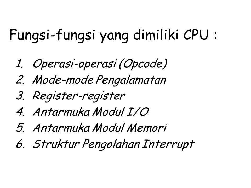 Fungsi-fungsi yang dimiliki CPU : 1.Operasi-operasi (Opcode) 2.Mode-mode Pengalamatan 3.Register-register 4.Antarmuka Modul I/O 5.Antarmuka Modul Memo