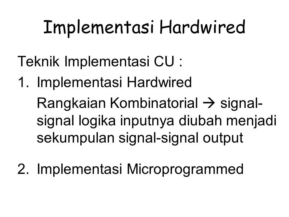 Implementasi Hardwired Teknik Implementasi CU : 1.Implementasi Hardwired Rangkaian Kombinatorial  signal- signal logika inputnya diubah menjadi sekum