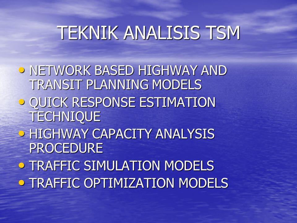 TEKNIK ANALISIS TSM • NETWORK BASED HIGHWAY AND TRANSIT PLANNING MODELS • QUICK RESPONSE ESTIMATION TECHNIQUE • HIGHWAY CAPACITY ANALYSIS PROCEDURE •