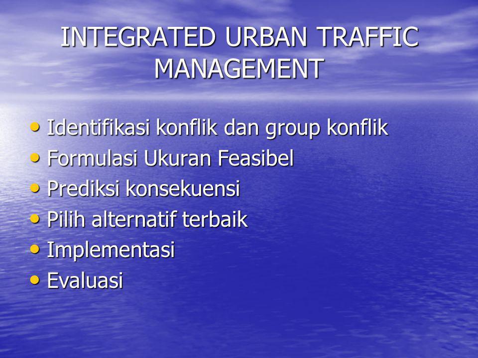 INTEGRATED URBAN TRAFFIC MANAGEMENT • Identifikasi konflik dan group konflik • Formulasi Ukuran Feasibel • Prediksi konsekuensi • Pilih alternatif ter