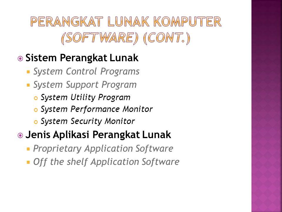  Sistem Perangkat Lunak  System Control Programs  System Support Program System Utility Program System Performance Monitor System Security Monitor
