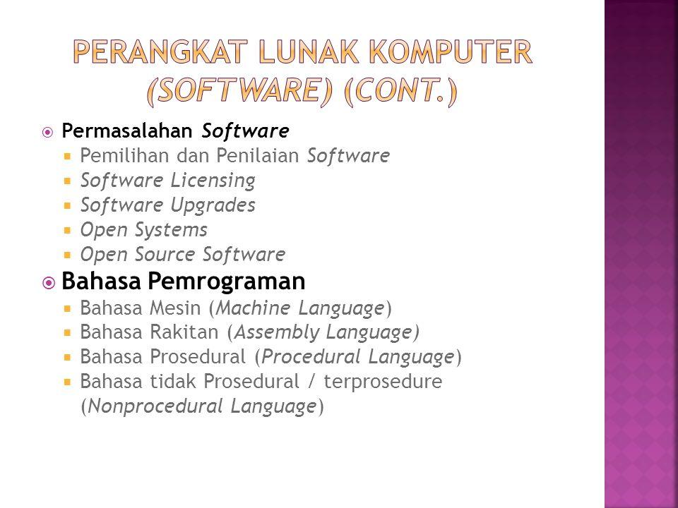  Permasalahan Software  Pemilihan dan Penilaian Software  Software Licensing  Software Upgrades  Open Systems  Open Source Software  Bahasa Pem
