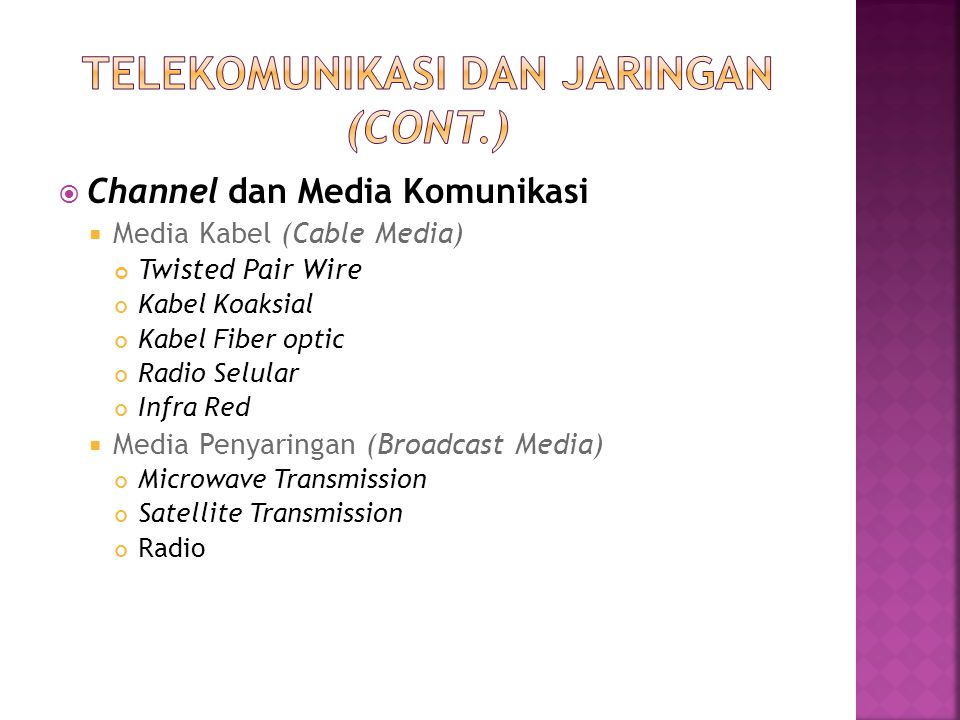  Channel dan Media Komunikasi  Media Kabel (Cable Media) Twisted Pair Wire Kabel Koaksial Kabel Fiber optic Radio Selular Infra Red  Media Penyarin