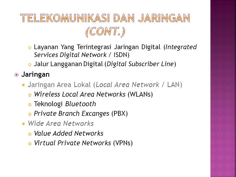 Layanan Yang Terintegrasi Jaringan Digital (Integrated Services Digital Network / ISDN) Jalur Langganan Digital (Digital Subscriber Line)  Jaringan 