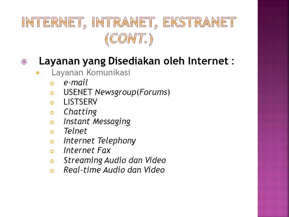  Layanan yang Disediakan oleh Internet :  Layanan Komunikasi e-mail USENET Newsgroup(Forums) LISTSERV Chatting Instant Messaging Telnet Internet Tel
