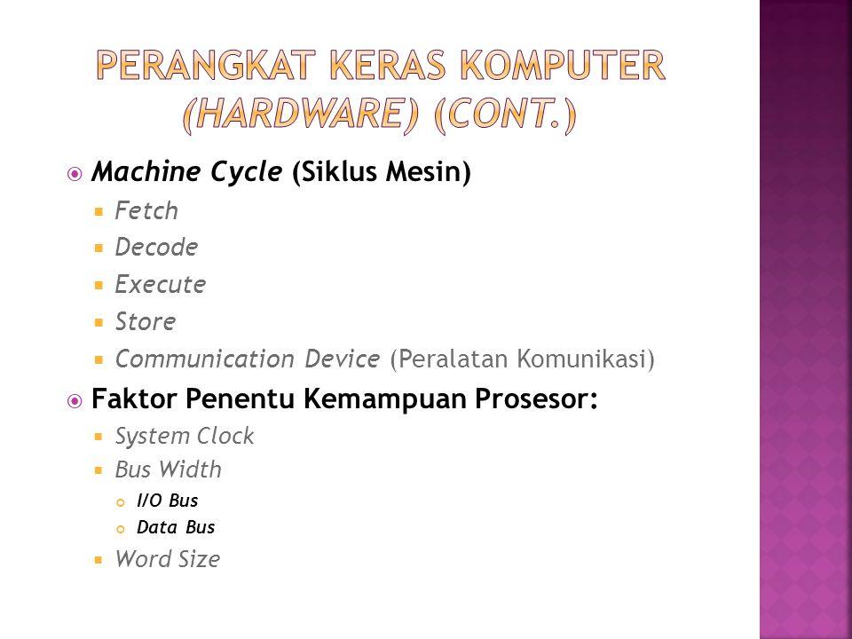  Machine Cycle (Siklus Mesin)  Fetch  Decode  Execute  Store  Communication Device (Peralatan Komunikasi)  Faktor Penentu Kemampuan Prosesor: 
