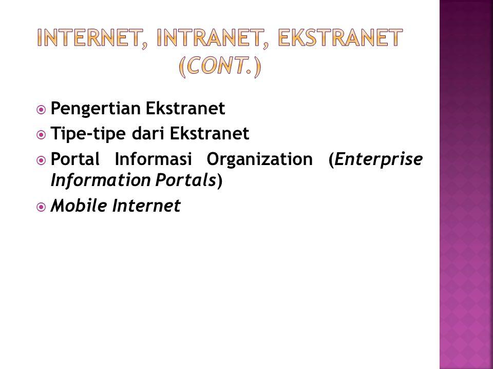  Pengertian Ekstranet  Tipe-tipe dari Ekstranet  Portal Informasi Organization (Enterprise Information Portals)  Mobile Internet