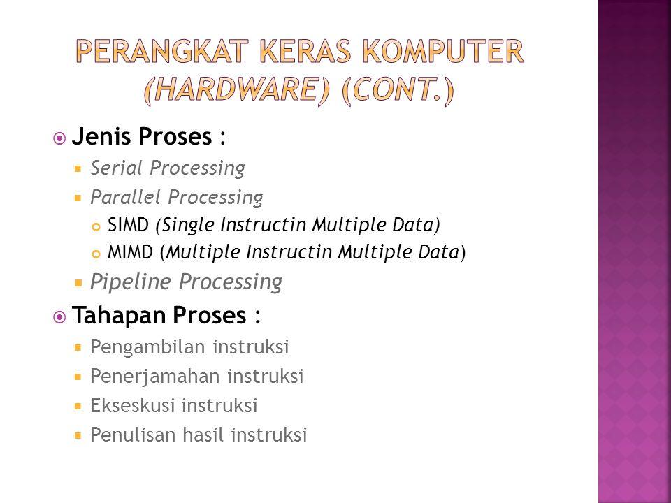  Jenis Proses :  Serial Processing  Parallel Processing SIMD (Single Instructin Multiple Data) MIMD (Multiple Instructin Multiple Data)  Pipeline