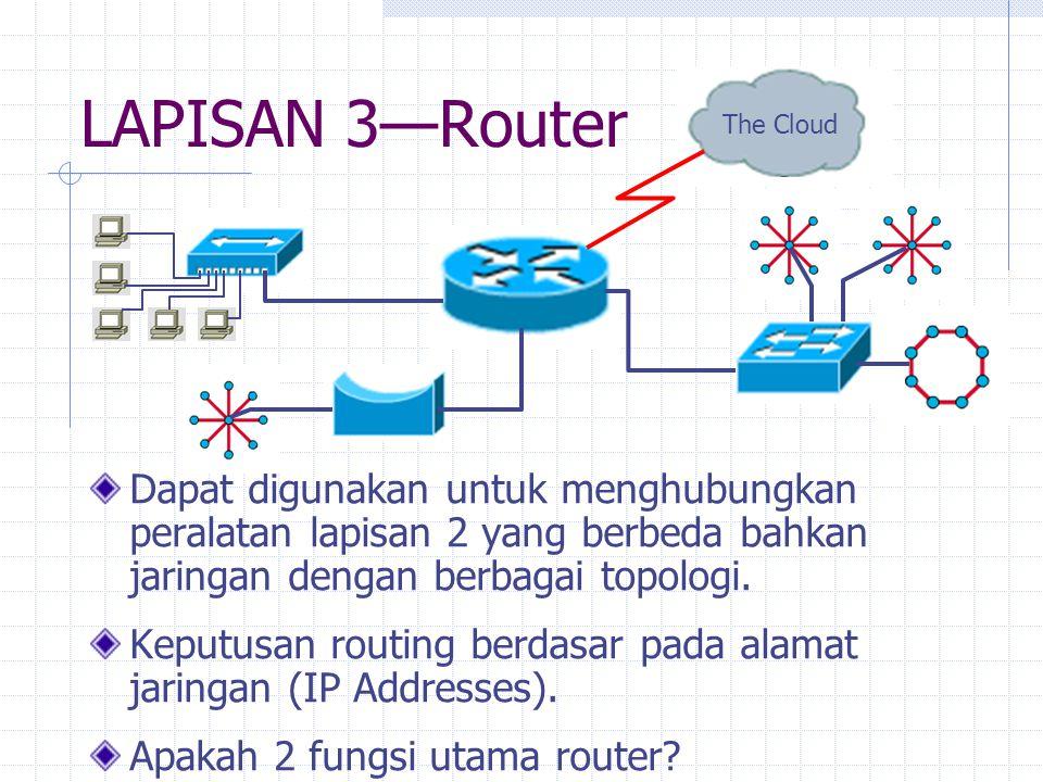 LAPISAN 3—Router Dapat digunakan untuk menghubungkan peralatan lapisan 2 yang berbeda bahkan jaringan dengan berbagai topologi. Keputusan routing berd