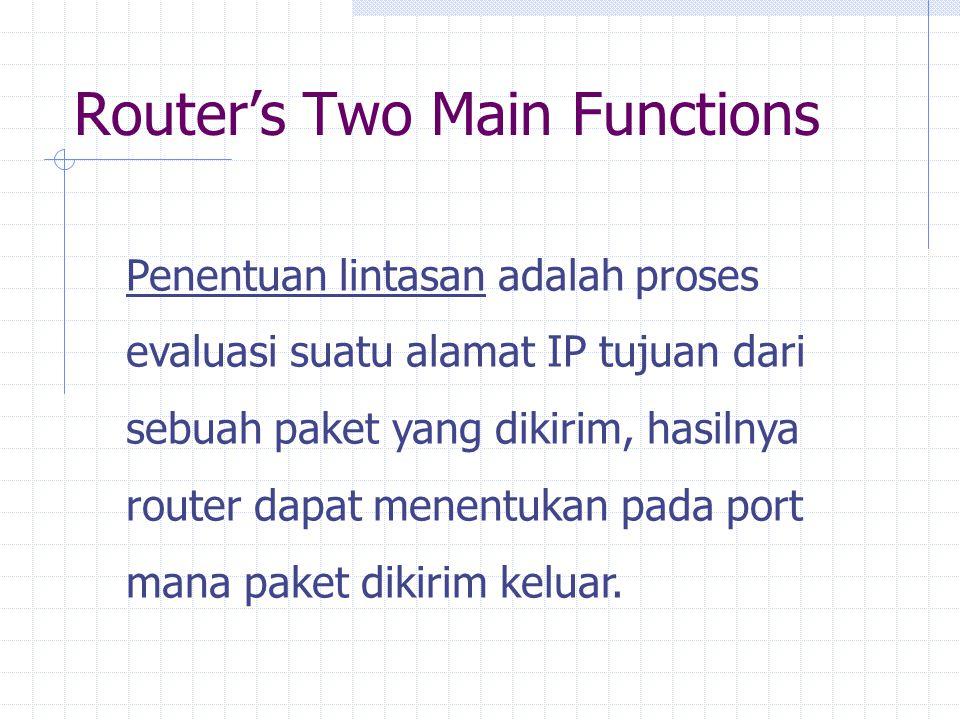 Router's Two Main Functions Penentuan lintasan adalah proses evaluasi suatu alamat IP tujuan dari sebuah paket yang dikirim, hasilnya router dapat menentukan pada port mana paket dikirim keluar.