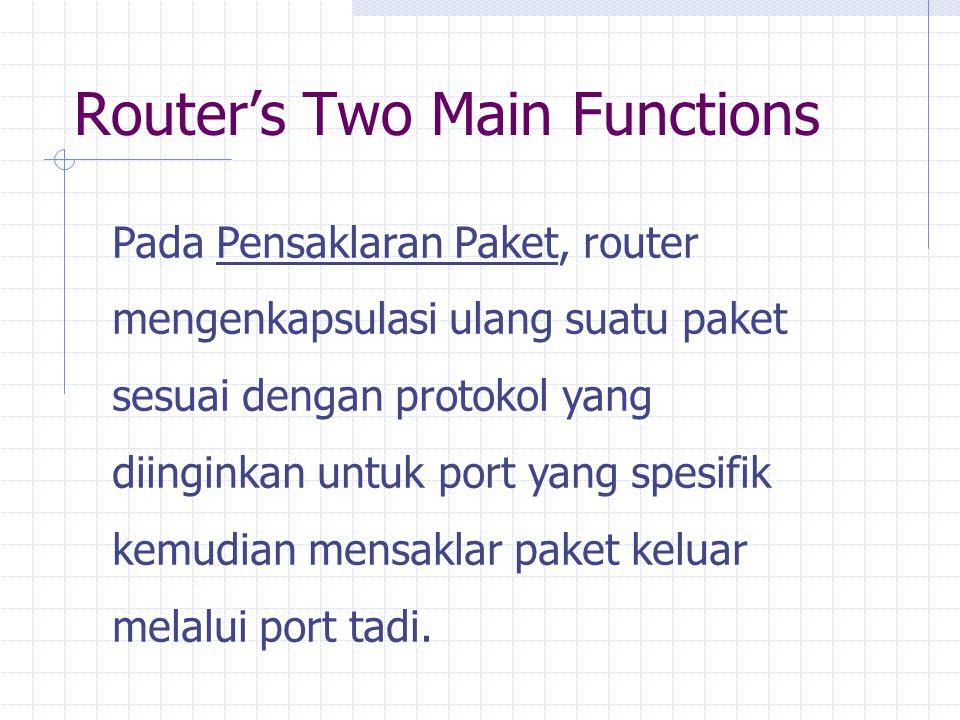 Router's Two Main Functions Pada Pensaklaran Paket, router mengenkapsulasi ulang suatu paket sesuai dengan protokol yang diinginkan untuk port yang spesifik kemudian mensaklar paket keluar melalui port tadi.
