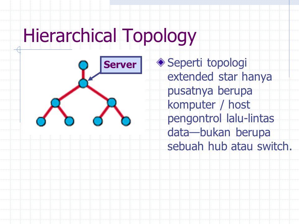 Hierarchical Topology Seperti topologi extended star hanya pusatnya berupa komputer / host pengontrol lalu-lintas data—bukan berupa sebuah hub atau sw