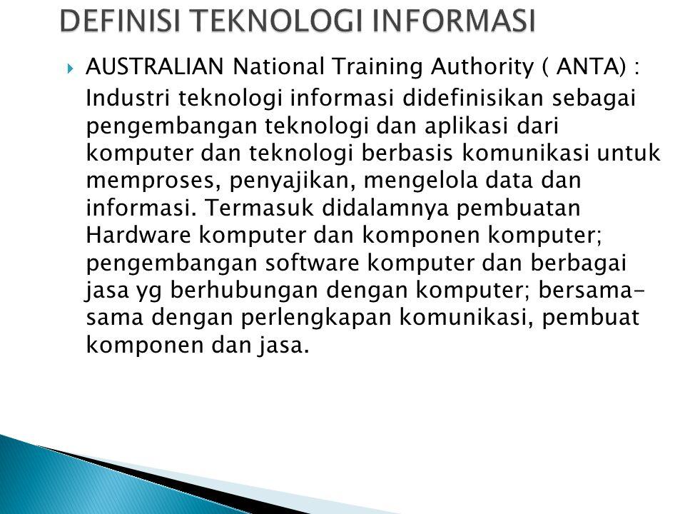 AUSTRALIAN National Training Authority ( ANTA) : Industri teknologi informasi didefinisikan sebagai pengembangan teknologi dan aplikasi dari kompute