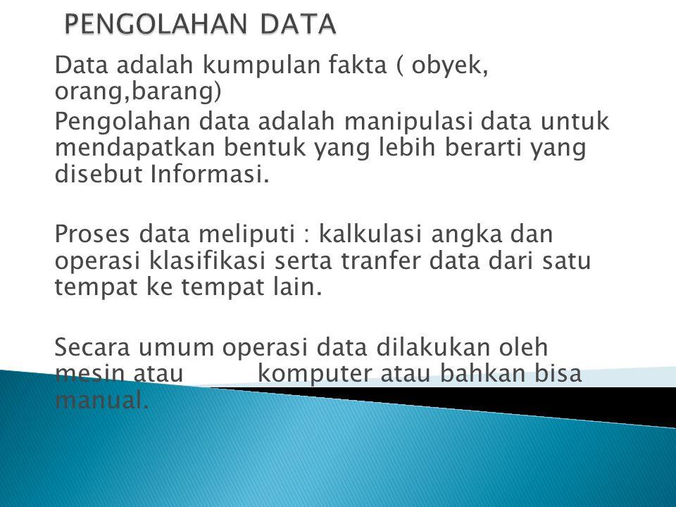 Data adalah kumpulan fakta ( obyek, orang,barang) Pengolahan data adalah manipulasi data untuk mendapatkan bentuk yang lebih berarti yang disebut Info