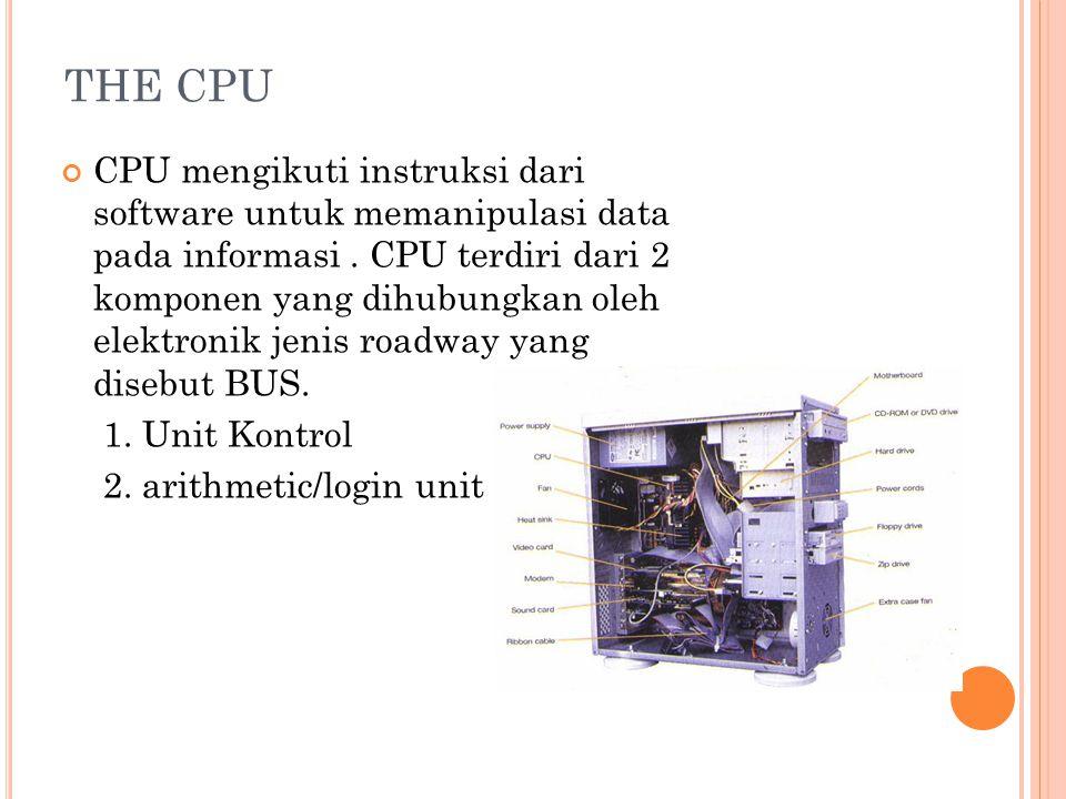 THE CPU CPU mengikuti instruksi dari software untuk memanipulasi data pada informasi.