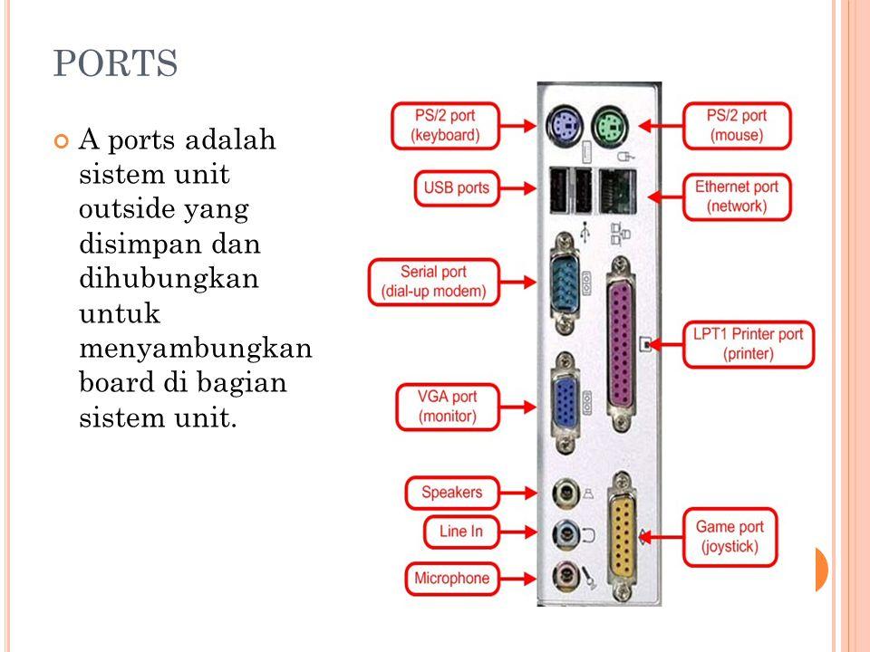 PORTS A ports adalah sistem unit outside yang disimpan dan dihubungkan untuk menyambungkan board di bagian sistem unit.