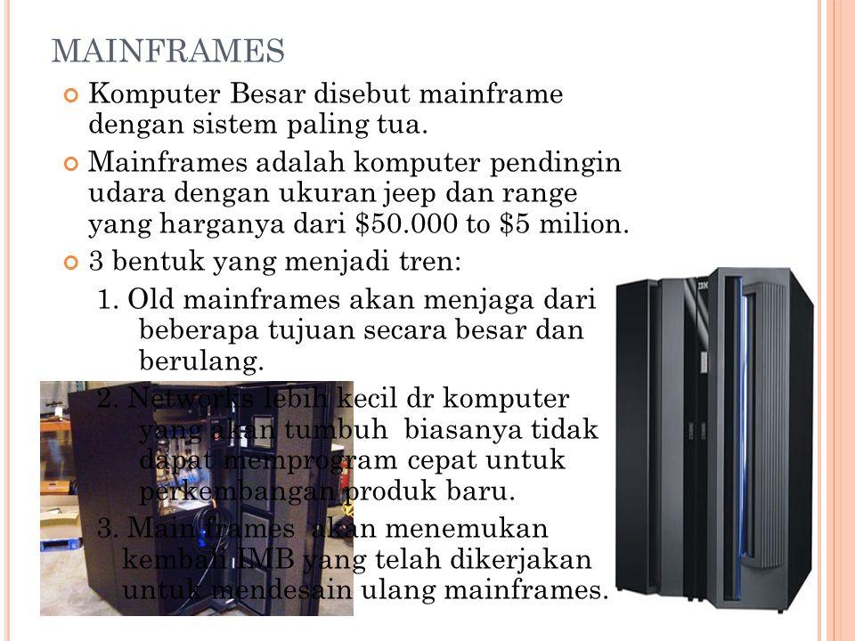 MAINFRAMES Komputer Besar disebut mainframe dengan sistem paling tua.