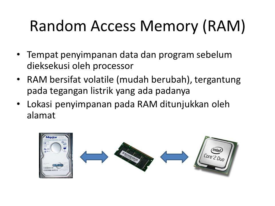 Random Access Memory (RAM) • Tempat penyimpanan data dan program sebelum dieksekusi oleh processor • RAM bersifat volatile (mudah berubah), tergantung