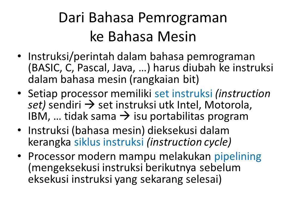 Dari Bahasa Pemrograman ke Bahasa Mesin • Instruksi/perintah dalam bahasa pemrograman (BASIC, C, Pascal, Java, …) harus diubah ke instruksi dalam baha