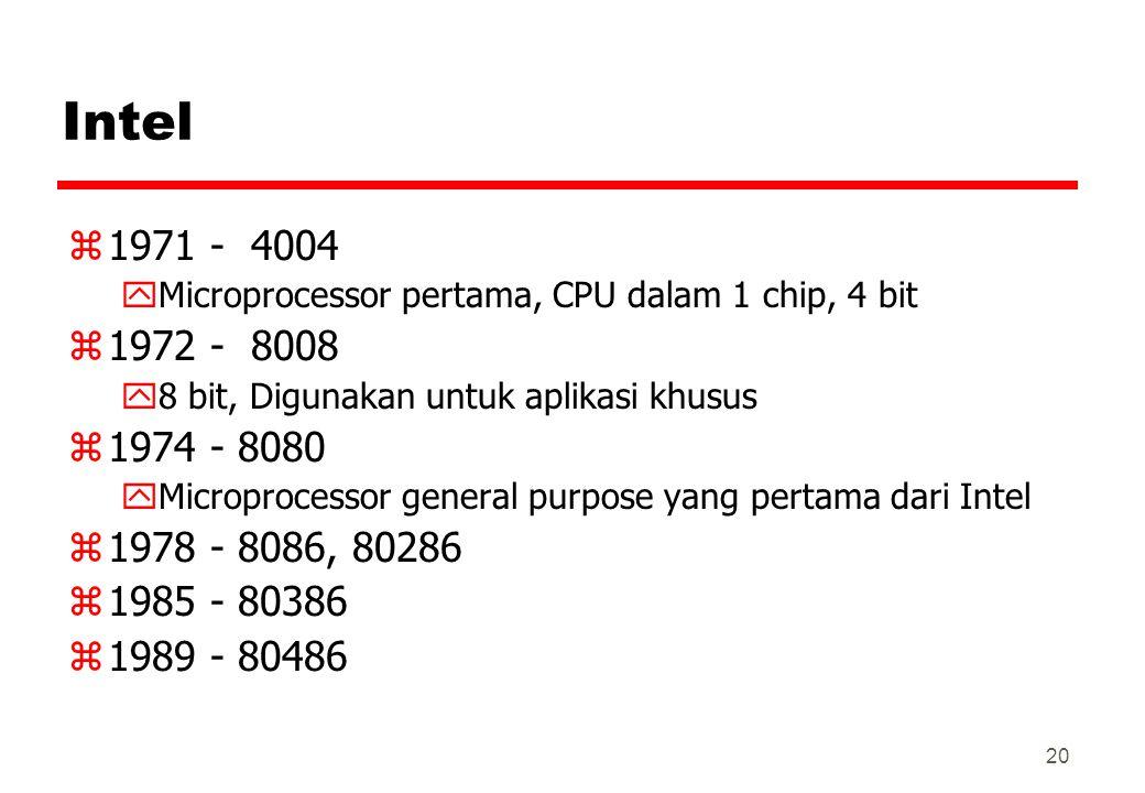 Intel z1971 - 4004 yMicroprocessor pertama, CPU dalam 1 chip, 4 bit z1972 - 8008 y8 bit, Digunakan untuk aplikasi khusus z1974 - 8080 yMicroprocessor