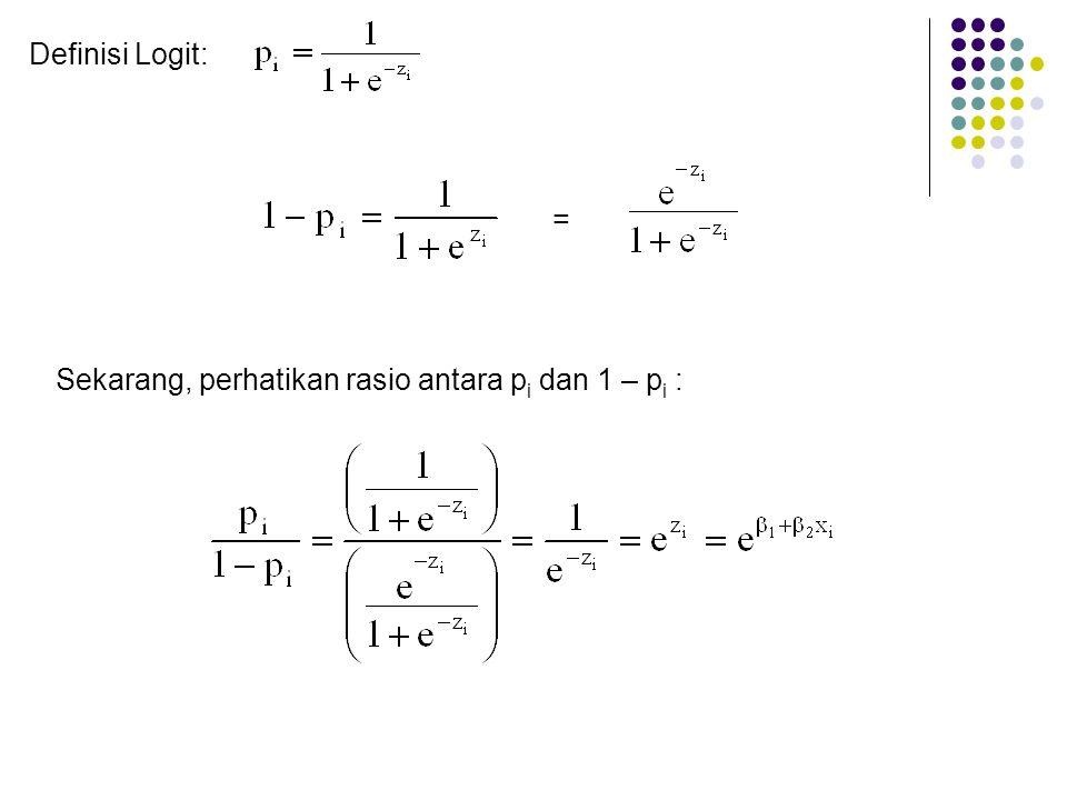 Definisi Logit: = Sekarang, perhatikan rasio antara p i dan 1 – p i :
