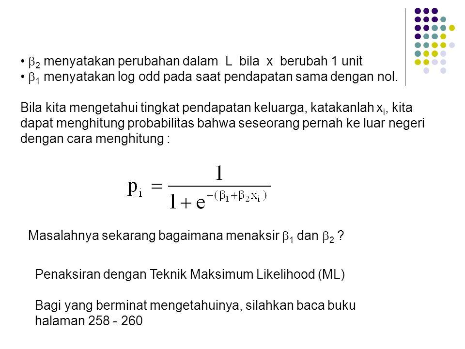 •  2 menyatakan perubahan dalam L bila x berubah 1 unit •  1 menyatakan log odd pada saat pendapatan sama dengan nol. Bila kita mengetahui tingkat p