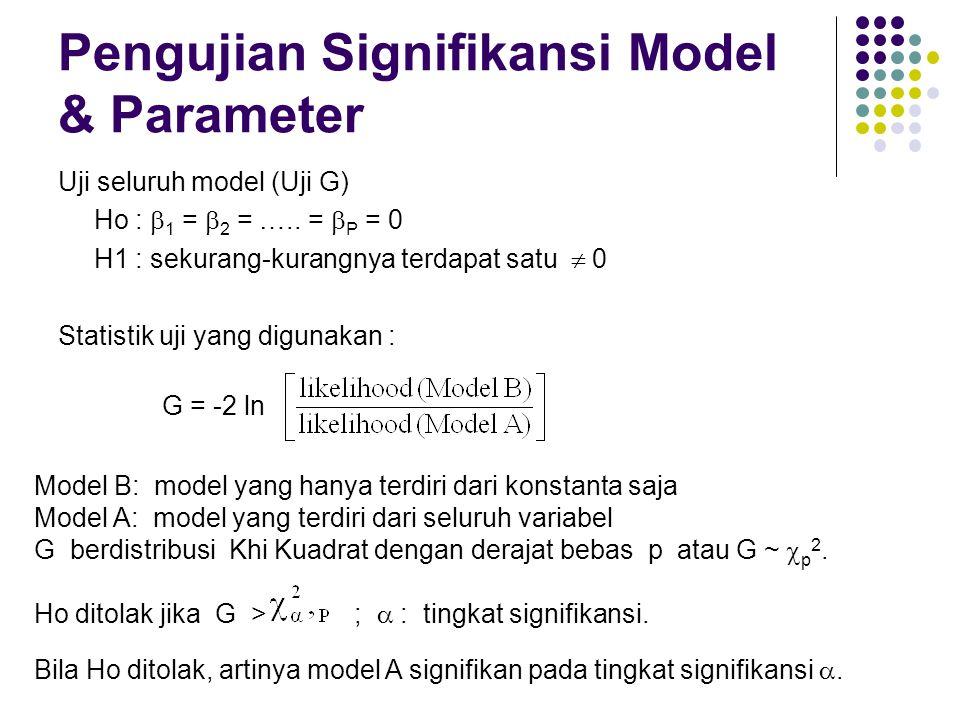 Pengujian Signifikansi Model & Parameter Uji seluruh model (Uji G) Ho :  1 =  2 = ….. =  P = 0 H1 : sekurang-kurangnya terdapat satu  0 Statistik