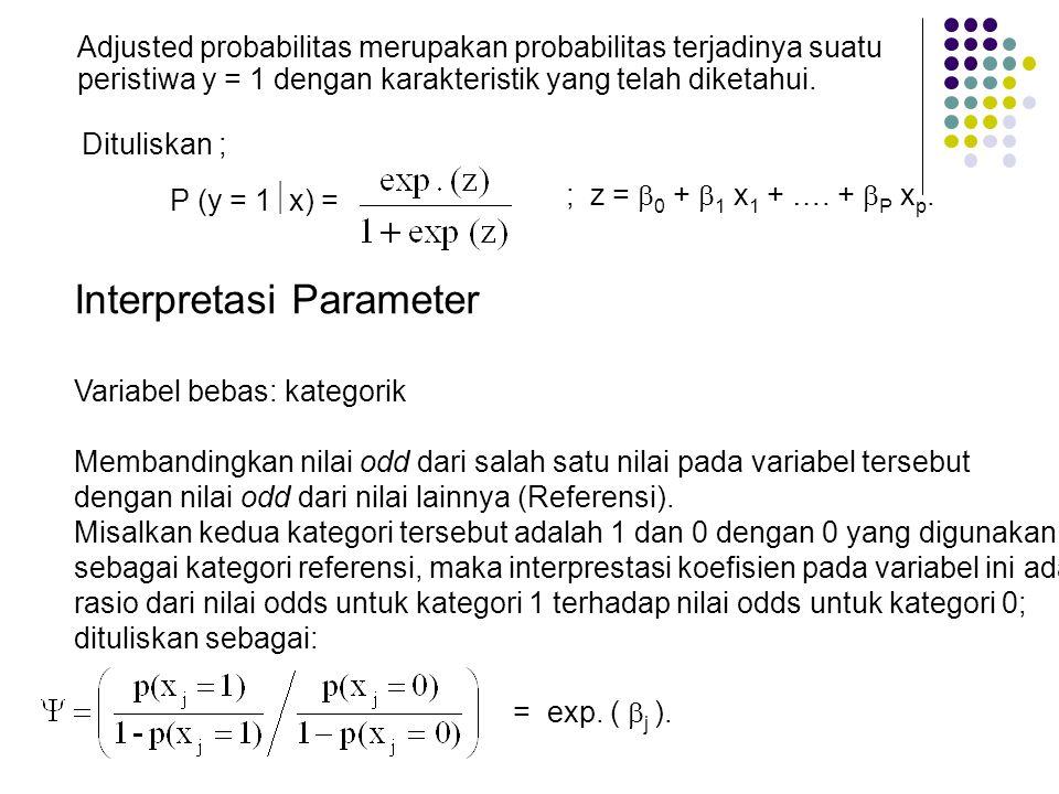 Adjusted probabilitas merupakan probabilitas terjadinya suatu peristiwa y = 1 dengan karakteristik yang telah diketahui. P (y = 1  x) = ; z =  0 + 