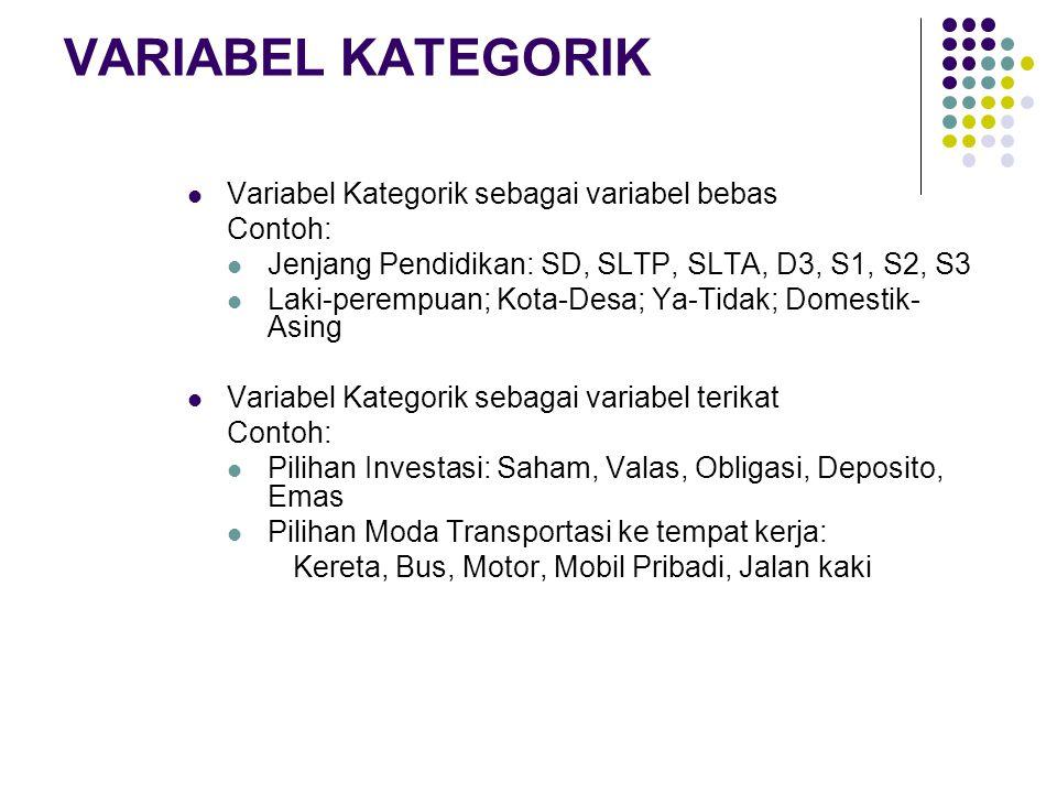 VARIABEL KATEGORIK  Variabel Kategorik sebagai variabel bebas Contoh:  Jenjang Pendidikan: SD, SLTP, SLTA, D3, S1, S2, S3  Laki-perempuan; Kota-Des