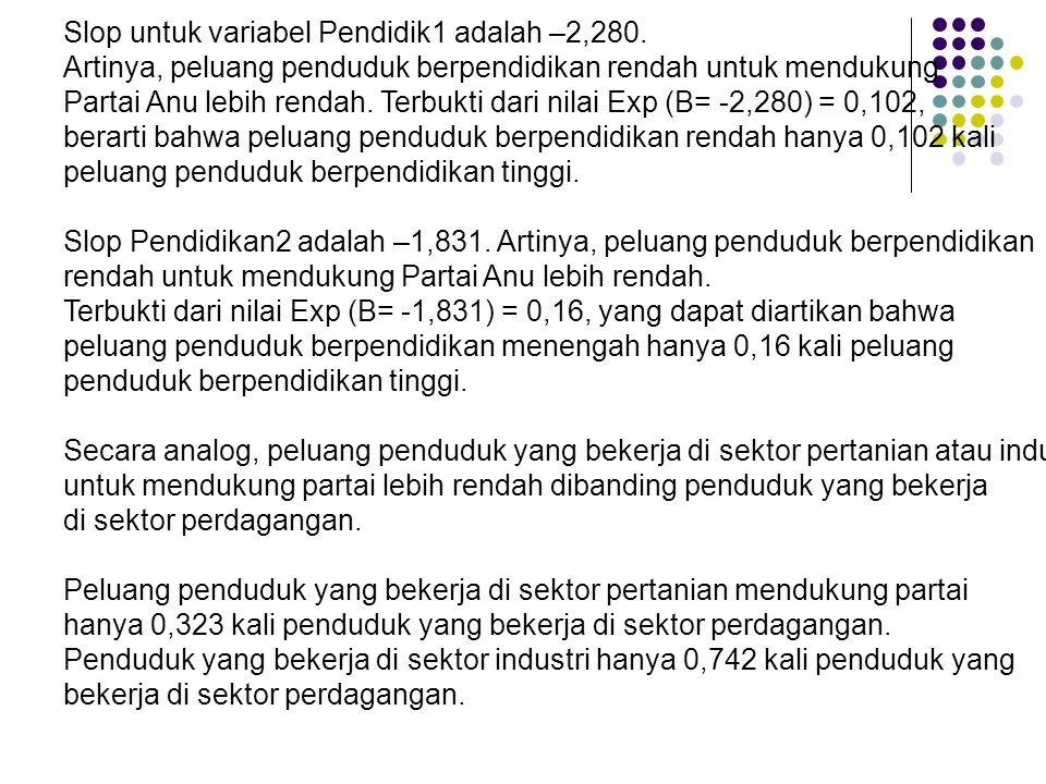 Slop untuk variabel Pendidik1 adalah –2,280. Artinya, peluang penduduk berpendidikan rendah untuk mendukung Partai Anu lebih rendah. Terbukti dari nil
