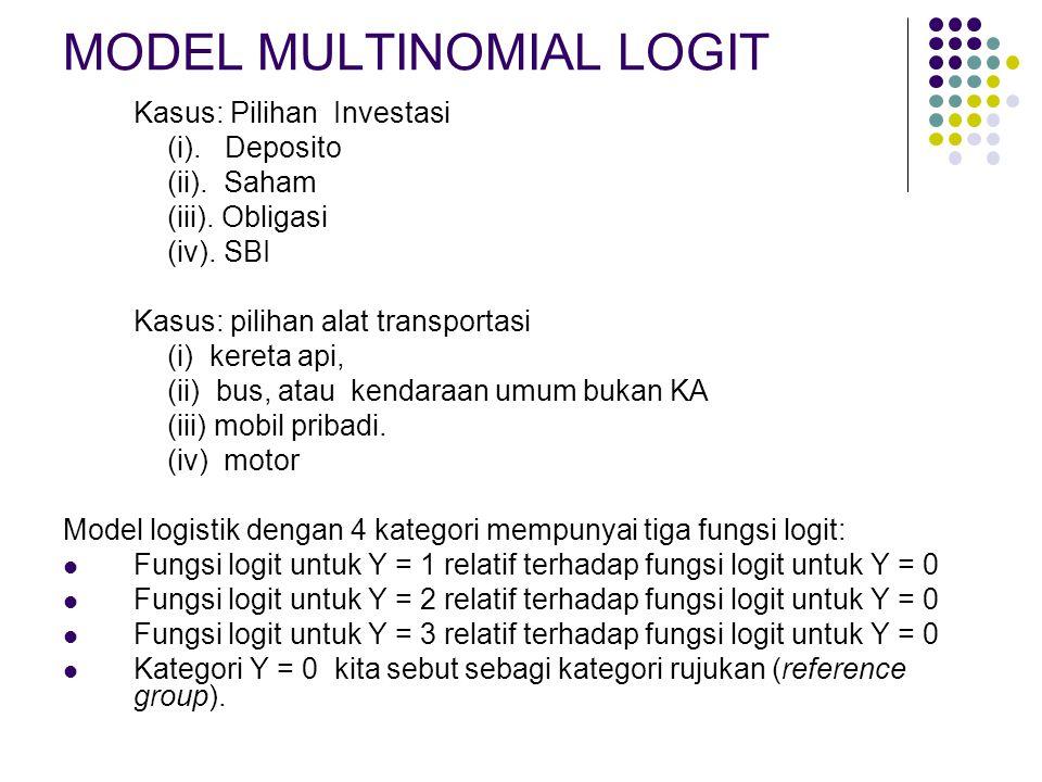MODEL MULTINOMIAL LOGIT Kasus: Pilihan Investasi (i). Deposito (ii). Saham (iii). Obligasi (iv). SBI Kasus: pilihan alat transportasi (i) kereta api,