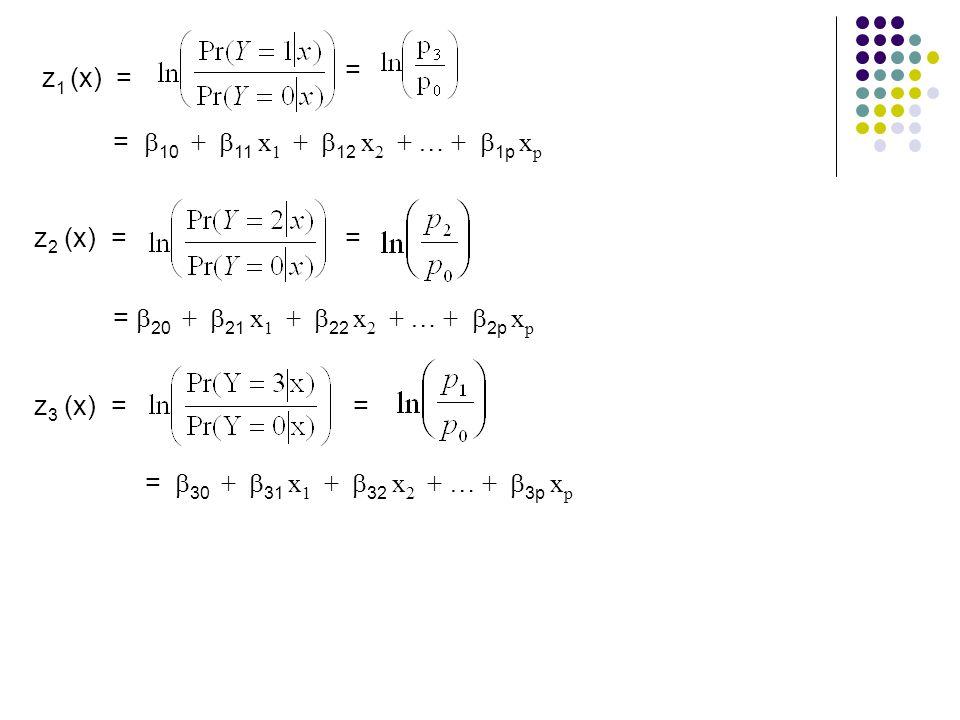 z 1 (x) = = =  10 +  11 x 1 +  12 x 2 + … +  1p x p = =  20 +  21 x 1 +  22 x 2 + … +  2p x p = =  30 +  31 x 1 +  32 x 2 + … +  3p x p z