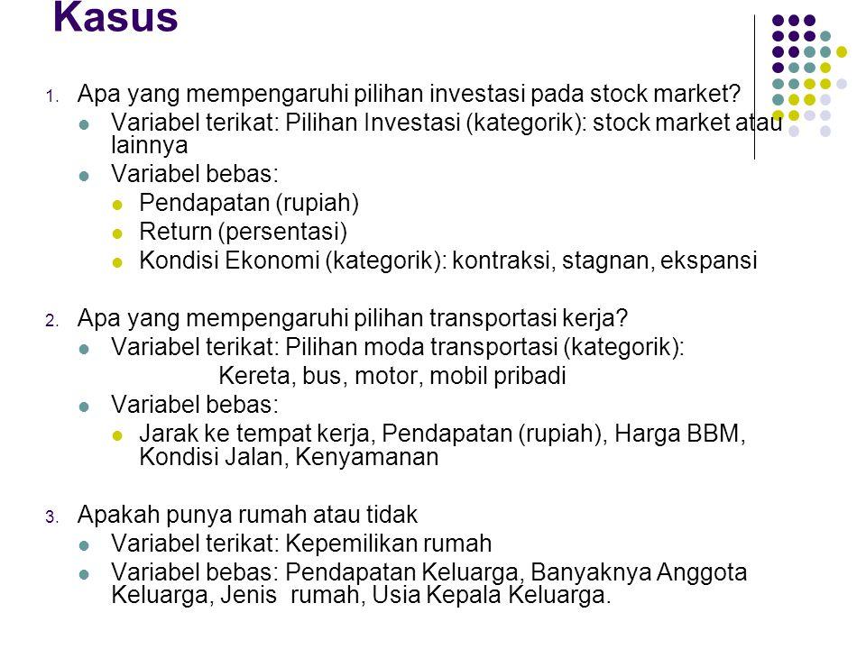 Kasus 1. Apa yang mempengaruhi pilihan investasi pada stock market?  Variabel terikat: Pilihan Investasi (kategorik): stock market atau lainnya  Var