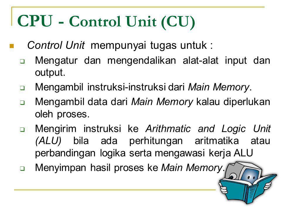 CPU - Control Unit (CU)  Control Unit mempunyai tugas untuk :  Mengatur dan mengendalikan alat-alat input dan output.  Mengambil instruksi-instruks