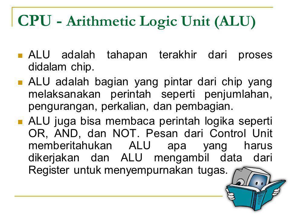 CPU - Registers  Register adalah area penyimpanan kecil untuk data yang digunakan oleh Arithmatic and Logic Unit (ALU) untuk menyempurnakan tugas yang diberikan oleh Control Unit.