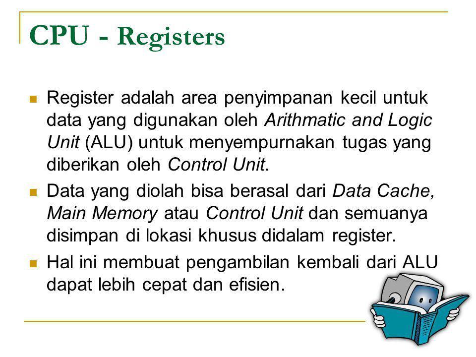 CPU - Registers  Register adalah area penyimpanan kecil untuk data yang digunakan oleh Arithmatic and Logic Unit (ALU) untuk menyempurnakan tugas yan