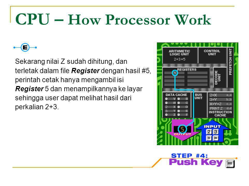 CPU – How Processor Work Sekarang nilai Z sudah dihitung, dan terletak dalam file Register dengan hasil #5, perintah cetak hanya mengambil isi Registe
