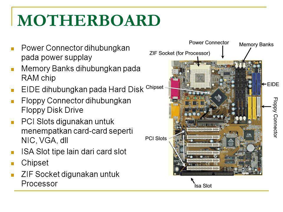 MOTHERBOARD  Power Connector dihubungkan pada power supplay  Memory Banks dihubungkan pada RAM chip  EIDE dihubungkan pada Hard Disk  Floppy Conne