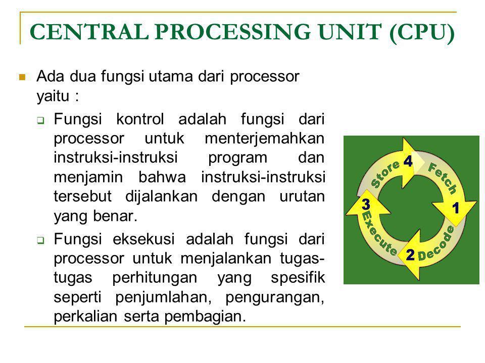 CENTRAL PROCESSING UNIT (CPU)  Ada dua fungsi utama dari processor yaitu :  Fungsi kontrol adalah fungsi dari processor untuk menterjemahkan instruk