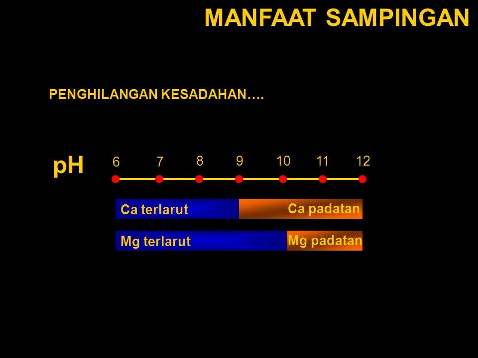 MANFAAT SAMPINGAN pH PENGHILANGAN KESADAHAN…. 111210 67 98 Ca terlarut Mg terlarut Ca padatan Mg padatan