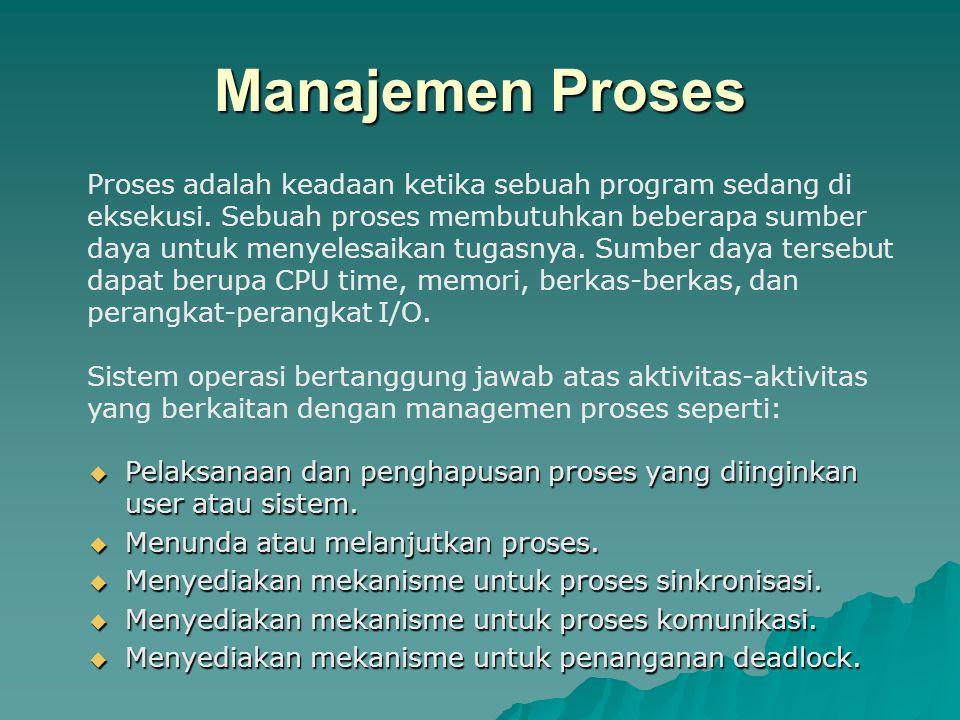 Manajemen Proses  Pelaksanaan dan penghapusan proses yang diinginkan user atau sistem.  Menunda atau melanjutkan proses.  Menyediakan mekanisme unt