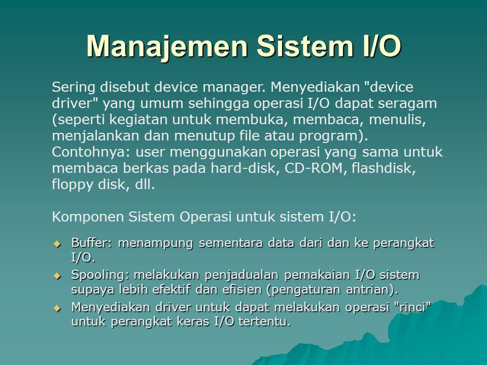Manajemen Sistem I/O  Buffer: menampung sementara data dari dan ke perangkat I/O.  Spooling: melakukan penjadualan pemakaian I/O sistem supaya lebih